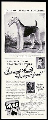 1941 Airedale terrier champion dog art Pard Dog Food vintage print ad