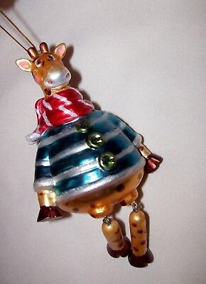 Wonderful Large Dangle African Giraffe Christmas Holiday Ornament Winter Attire