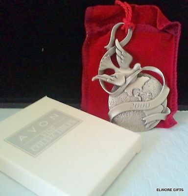 Avon Fine Collectibles Pewter Ornament 2000 Peaceful Millennium Nib Dove Globe