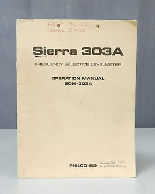 Philco Sierra 303A Frequency Selective Levelmeter Operation Manual