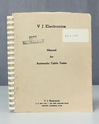 V J Electronics Automatic Cable Tester Operation & Maintenance Manual