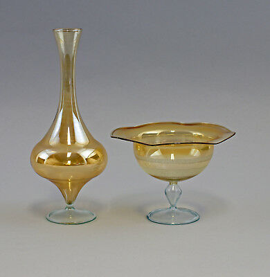 99835024 Vase and Bowl Lauscha Thuringia Yellow LUSTRATED