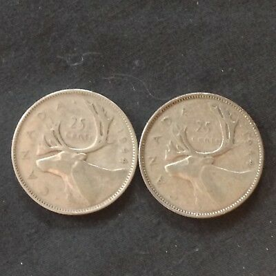 LOT of 2 OLD CANADA 80% SILVER quarters 1944 25 Cents King George