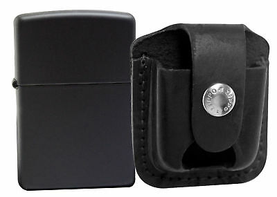 Zippo 218 Black Matte Lighter + LPTBK Black Leather Pouch Clip