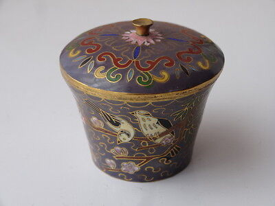 Antique Japanese Cloisonne Enamel Birds Of Paradise Design Mauve Miniature Pot