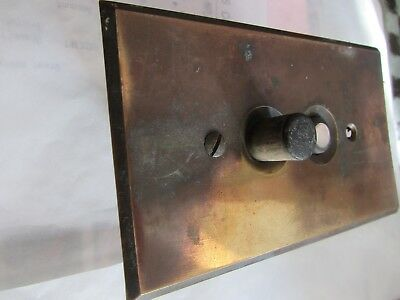OLD UNUSUAL Brass push button electric light switch