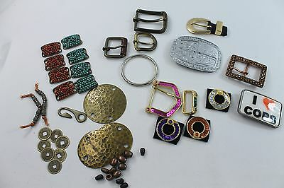 "Lot Belt Buckles & Misc Belt Pieces,Trims - Most Metal (includes ""Love Cops"")"