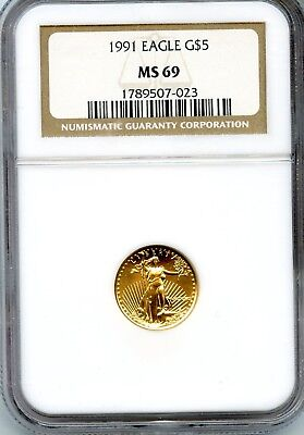 Amazing 1991 NGC MS 69 Gold Eagle $5 Dollar .9167 Fine Coin RN538