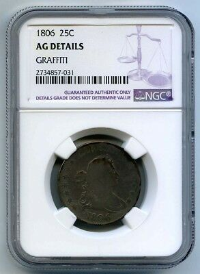 1806 Bust Quarter NGC AG Details Graffiti - Almost Good 25¢