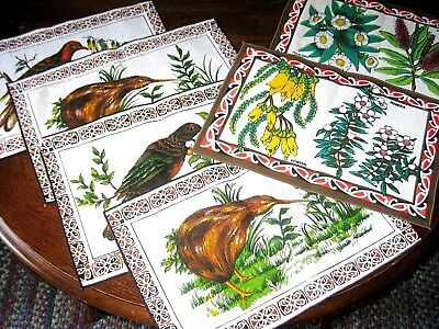 NEW Vintage Lot of 6 Placemats New Zealand Birds Plants Tropical Pacific Islands