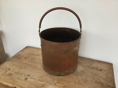 Vintage Copper Pot Planter Bucket Decorative Brass Salvage Up-cycle Lamp LARGE