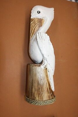 "(2), Hand-carved Wooden Pelican, Lanai Patio Pelican Decor, 20 1/2"", P-1"