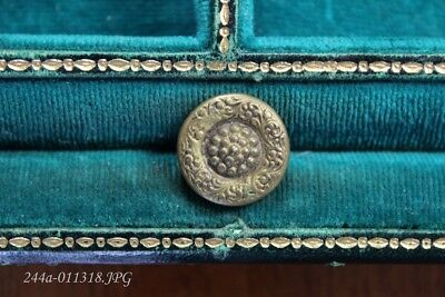 Antique Victorian Brass Button Fancy Scroll Pattern Border & Dotted Center  12mm