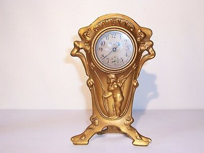 antique VICTORIAN ART NOUVEAU NEW HAVEN CLOCK CO. cast metal cherub DESK CLOCK