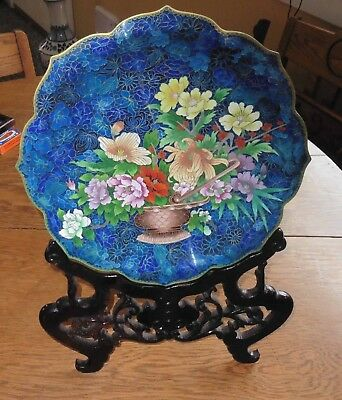 Beautiful Large Cloisonne Brass & Enamel Display Plate w/ Stand