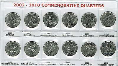 2007-2009 Twelve Canadian Uncirculated Olympic Commemorative Quarter Coin Set!