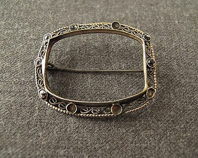 Antique Early 1900's Jeweled Marcasited Filigree Silver Pin Frame For Repurpose