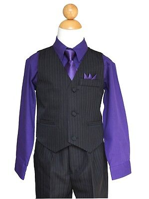 Pinstripe Boys Easter, Recital, Vest Suit Set, Purple/Black,Size: 2T to 14