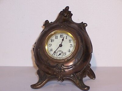 antique small VICTORIAN ART NOUVEAU CAST METAL PORCELAIN DIAL DESK CLOCK