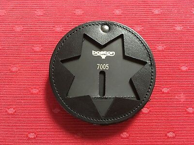 Genuine Boston Leather 600-7005 Round Recessed Clip On Badge Holder, 7 pt Star