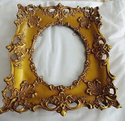 Vintage Ornate Gold Gilt Porcelain French Picture Frame With Glass