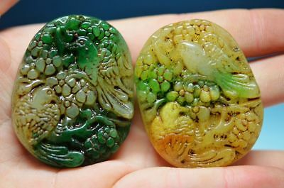 Exquisite Chinese old jade Two-sided hand carved *Bird & Lotus * pendant   ha8