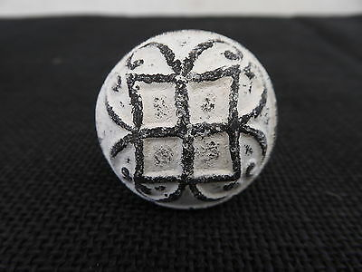 Cast Iron Old Style World White and Black Knob Drawer Pull ~ Home Decor