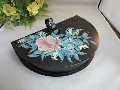 Vtg hand painted tole ware dust pan, table butler,ash collector.Pink rose floral