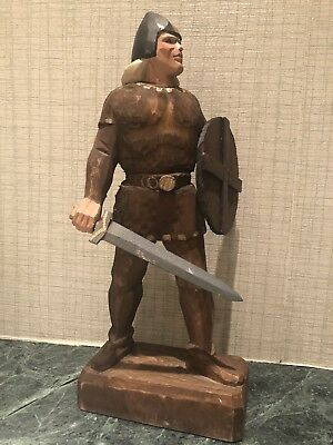 "Vintage Henning Norway Hand Carved 10"" tall Viking Man w/ Shield & Sword"