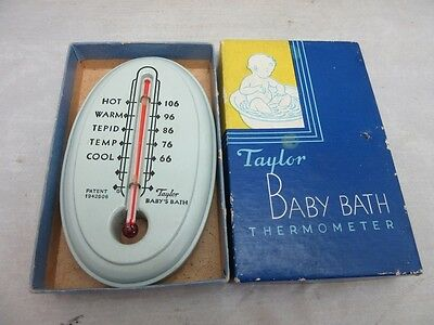 Vintage 1950's Taylor Baby Bath wood thermometer with box