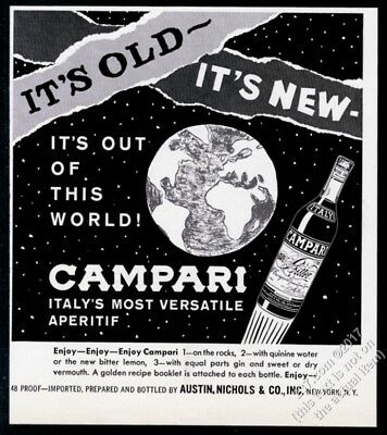 1963 Campari aperitif rocket bottle Earth outer space art vintage print ad