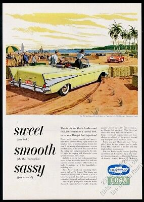 1957 Chevrolet Bel Air convertible Corvette race art vintage print ad
