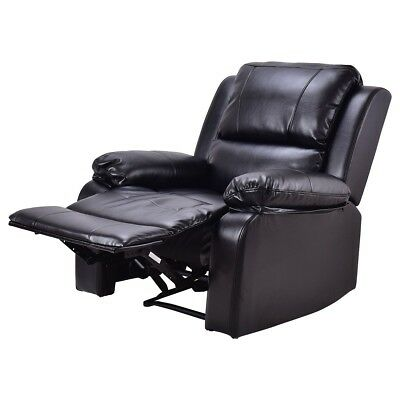 PU Leather Padded Manual Recliner Lounge Chair Sofa Couch Home Room Furniture US