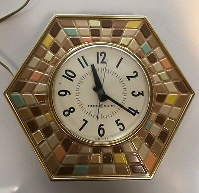 Vintage 50s 60s General Electric GE Wall Clock Faux Mosaic Mid Century Modern