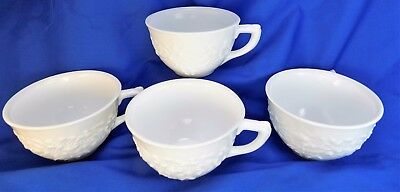 Lot of 4 White Milk Glass Punch Coffee Cups Floral Design Mugs