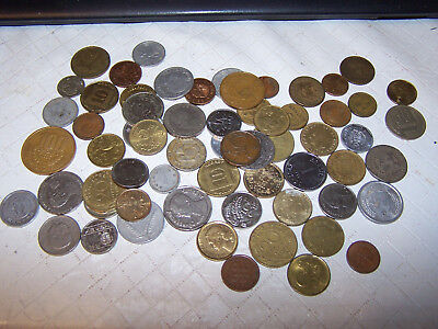 Small lot of ~60 SIXTY OBSOLETE WORLD COINS Circulated So. America Europe etc !!