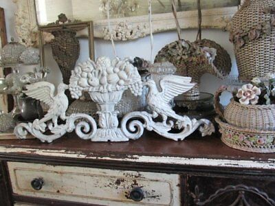 AWESOME Vintage ARCHITECTURAL Metal HEADER BIRDS URN Fruits Chippy White Patina