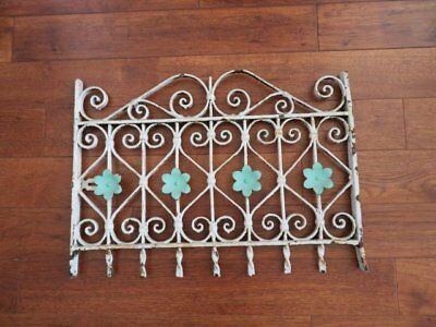 FABULOUS Old Vintage WHITE CAST IRON GARDEN FENCE with Metal FLOWERS Ornate