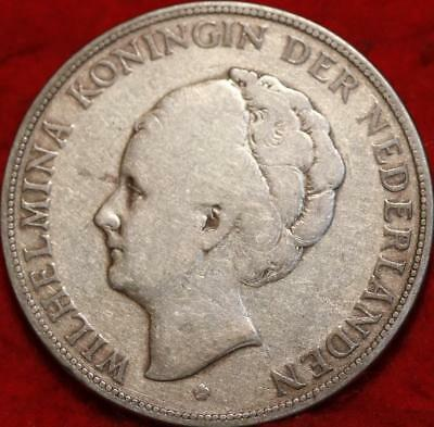1930 Netherlands 2 1/2 Gulden Silver Foreign Coin