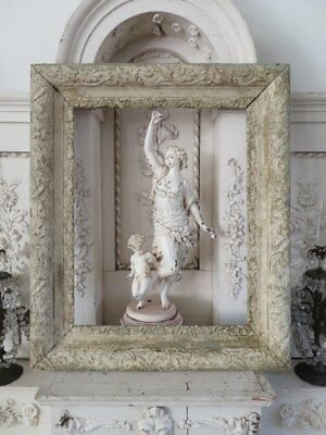 GORGEOUS Old Vintage French FRAME Ornate Barbola Gesso Details Chippy WHITE
