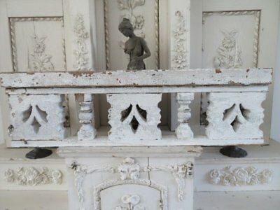 "AMAZING OLD Chippy White ARCHITECTURAL PEDIMENT HEADER Ornate 33"" Ornate Salvage"