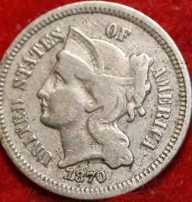 1870 Philadelphia Mint Silver Three Cent Coin