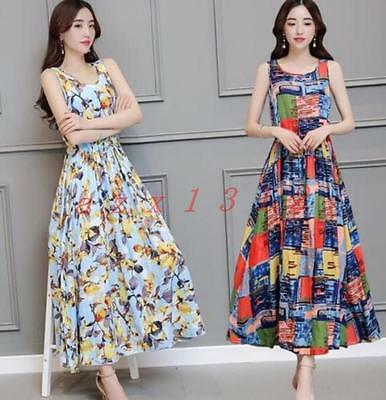 Ladies Womens Mixed Colors Floral Cotton Blend Sleeveless Sundress A Line Maxi