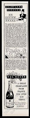 1945 Pol Roger Champagne illustrated Lucius Beebe text vintage print ad