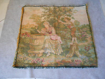 """FRENCH Vintage Romantic GARDEN Scene Colored TAPESTRY 18"""""""