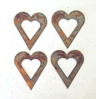 """Lot of 4 Hollow Heart Shapes 3"""" Rusty Metal Vintage Ornament Craft Sign Made USA"""