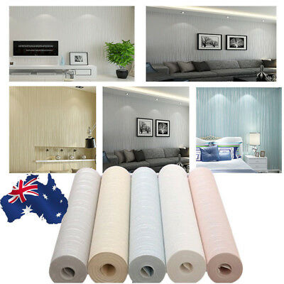 AU!! 10M Minimalist Solid Plain Flocking particles Non-woven Bedroom Wallpaper