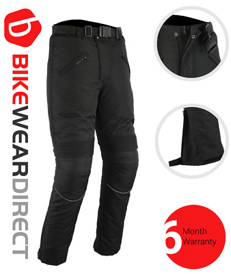 Mens CE Armoured Quality Black Waterproof Motorcycle Motorbike Trousers Pants
