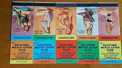 VINTAGE MATCH COVERS  LOT of 5 GIRLIE THEMED FRONT STRIKERS KEYSTONE MATCH COVER