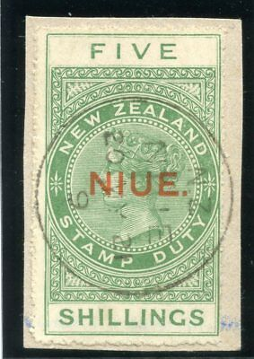 Niue 1929 KGV 5s yellow-green very fine used. SG 37a.
